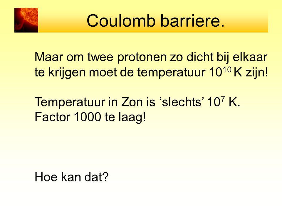 Coulomb barriere. Maar om twee protonen zo dicht bij elkaar