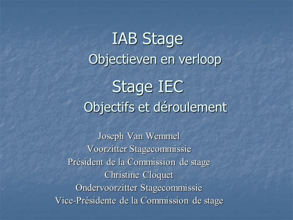 IAB Stage Objectieven en verloop Stage IEC Objectifs et déroulement