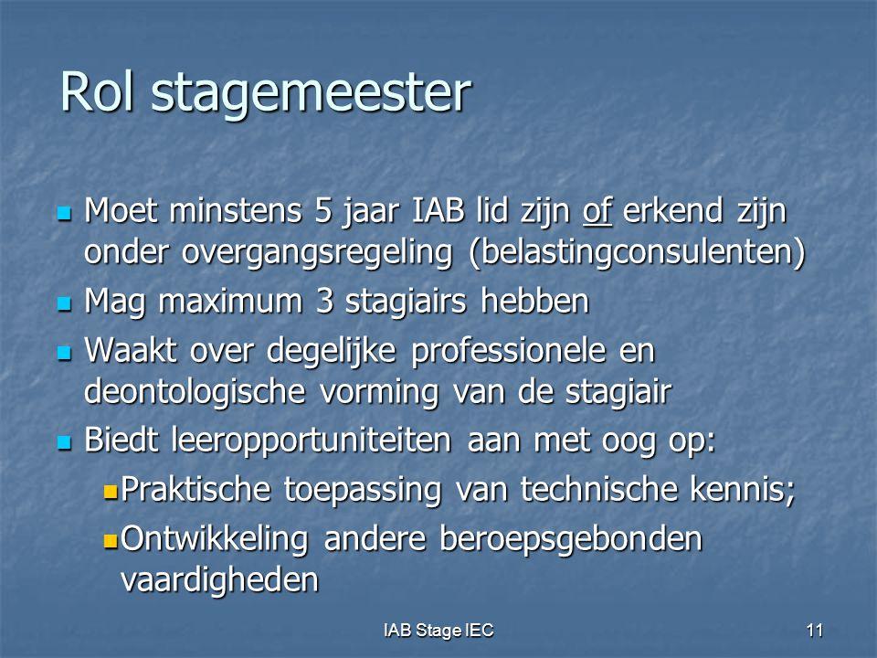 Rol stagemeester Moet minstens 5 jaar IAB lid zijn of erkend zijn onder overgangsregeling (belastingconsulenten)