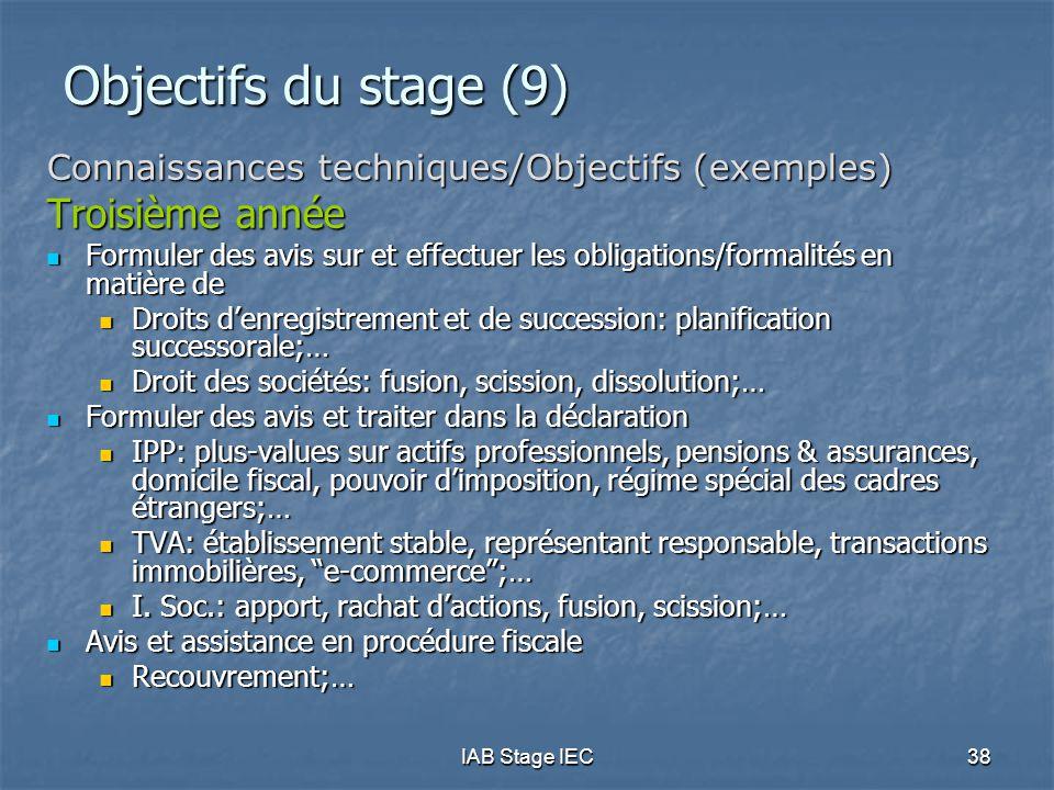Objectifs du stage (9) Troisième année