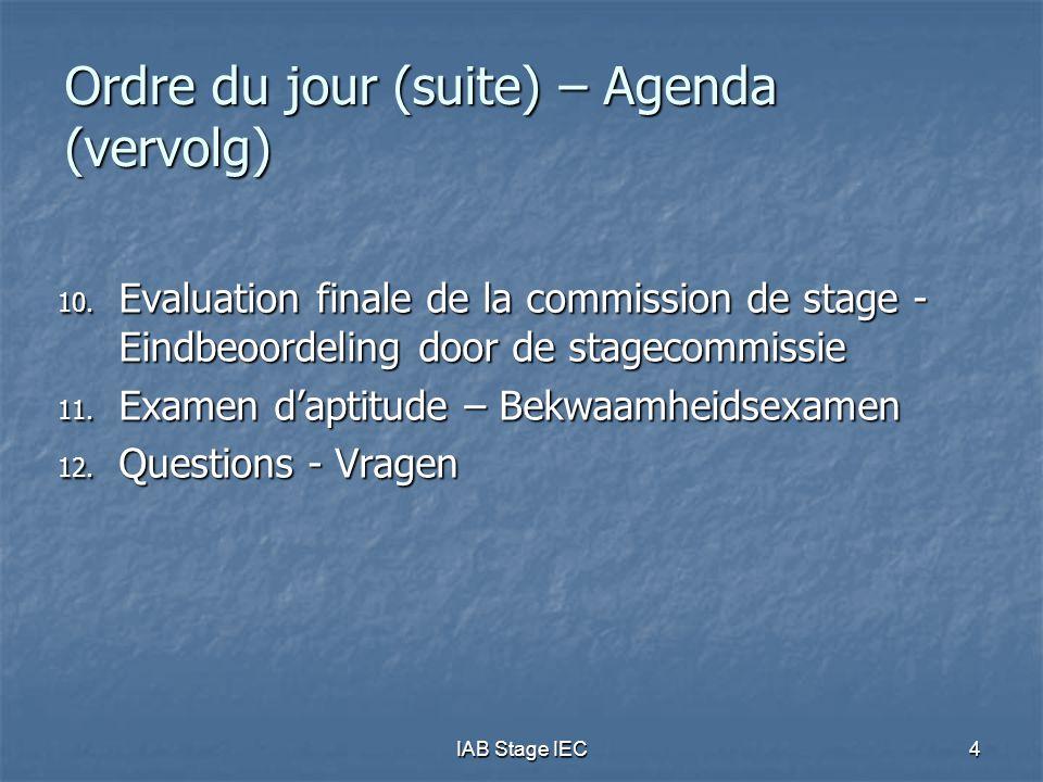 Ordre du jour (suite) – Agenda (vervolg)