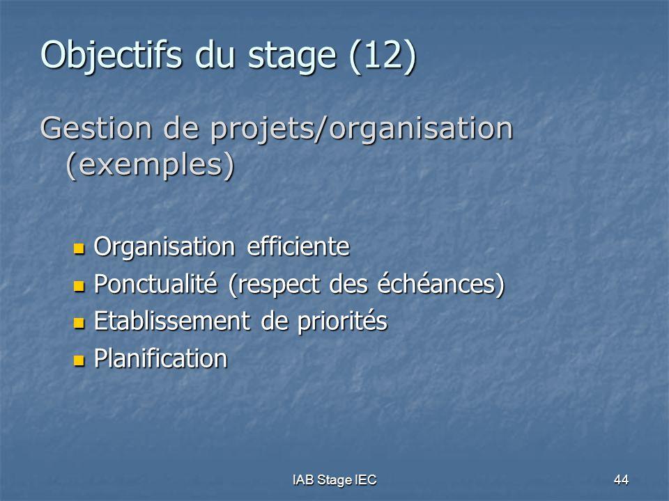 Objectifs du stage (12) Gestion de projets/organisation (exemples)