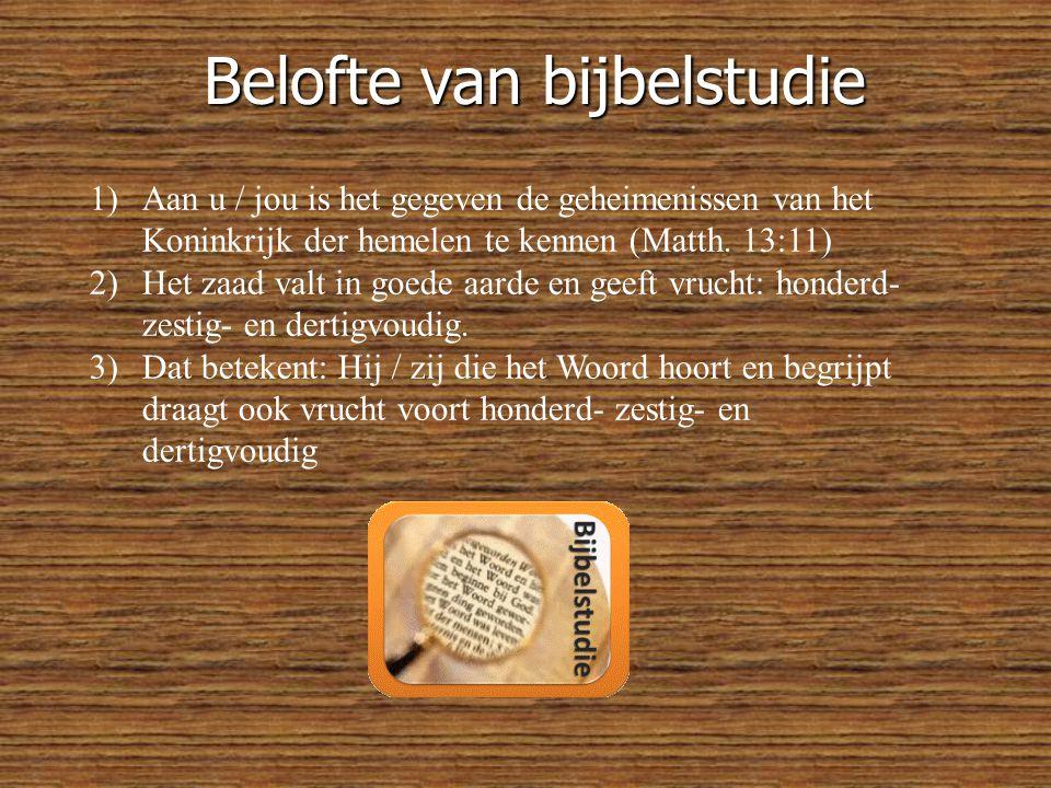 Belofte van bijbelstudie