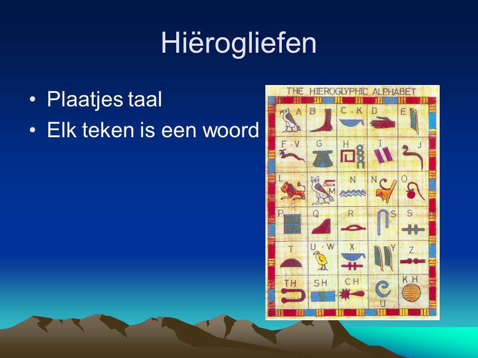 Hiërogliefen Plaatjes taal Elk teken is een woord