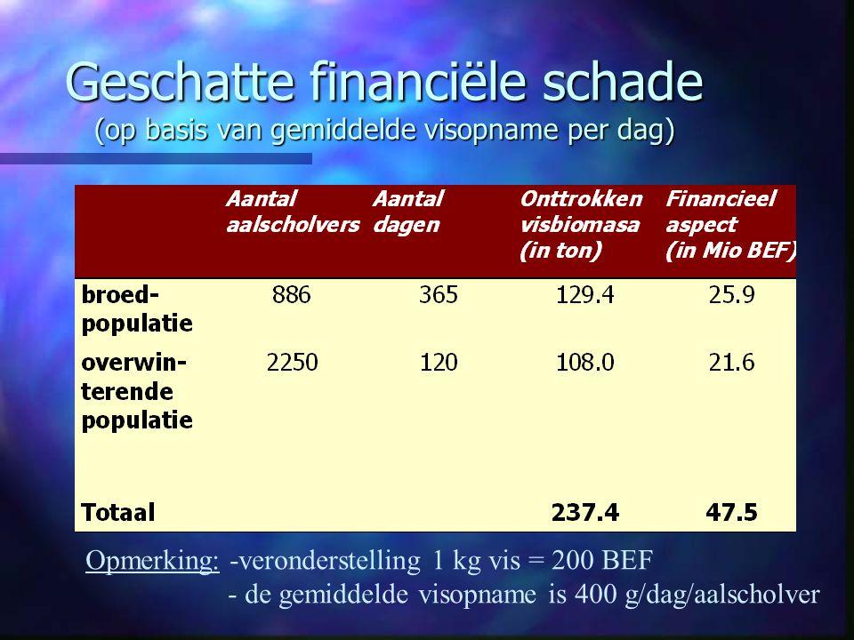 Geschatte financiële schade (op basis van gemiddelde visopname per dag)