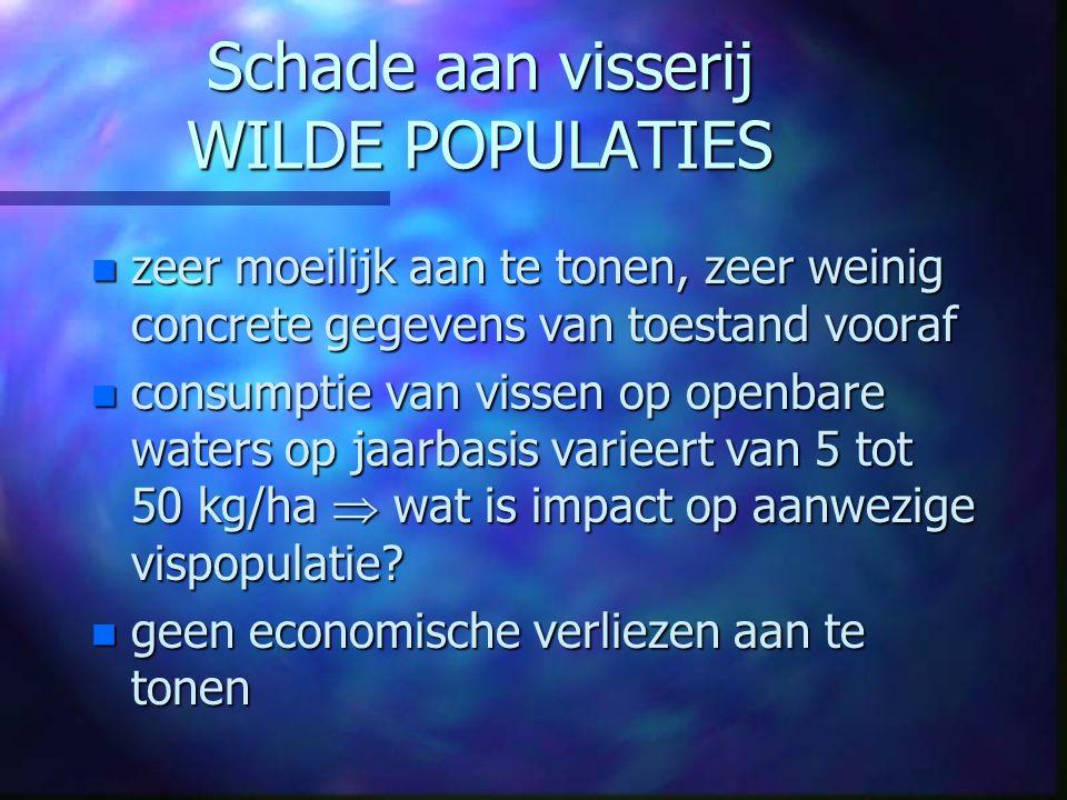 Schade aan visserij WILDE POPULATIES