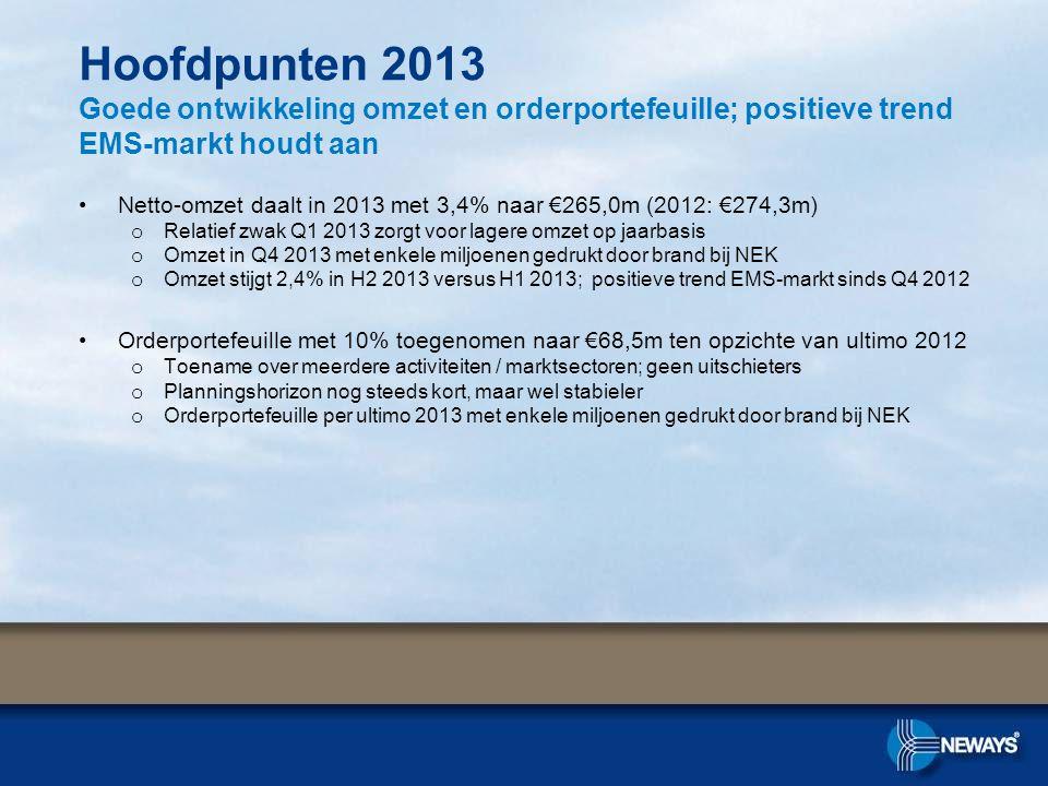 Hoofdpunten 2013 Goede ontwikkeling omzet en orderportefeuille; positieve trend EMS-markt houdt aan