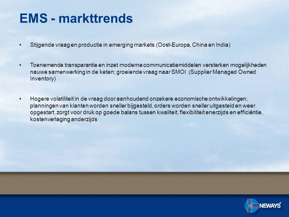 EMS - markttrends Stijgende vraag en productie in emerging markets (Oost-Europa, China en India)
