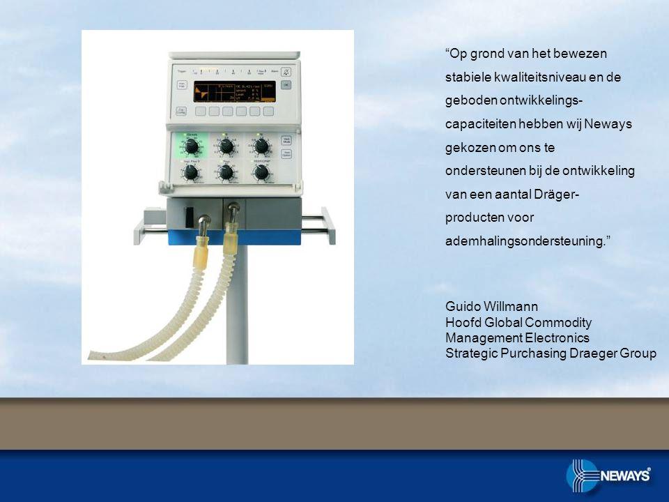 Op grond van het bewezen stabiele kwaliteitsniveau en de geboden ontwikkelings-capaciteiten hebben wij Neways gekozen om ons te ondersteunen bij de ontwikkeling van een aantal Dräger-producten voor ademhalingsondersteuning.