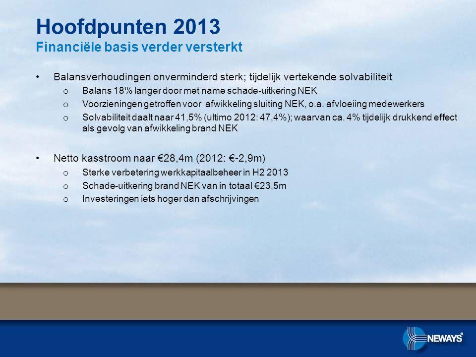Hoofdpunten 2013 Financiële basis verder versterkt