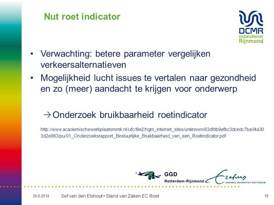 Nut roet indicator Verwachting: betere parameter vergelijken verkeersalternatieven.