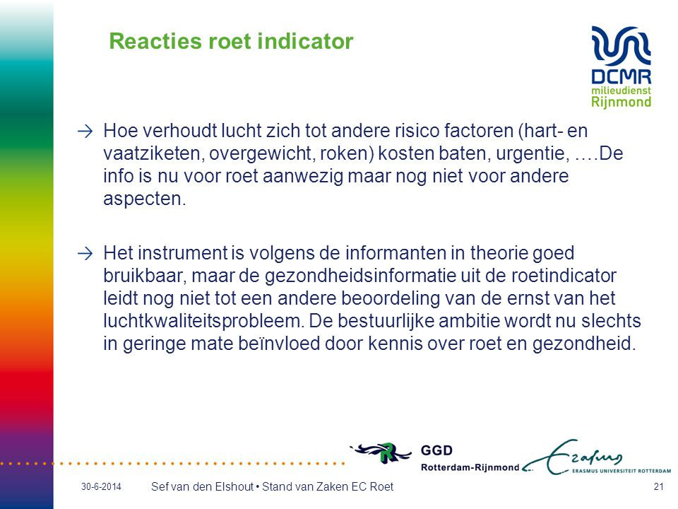 Reacties roet indicator