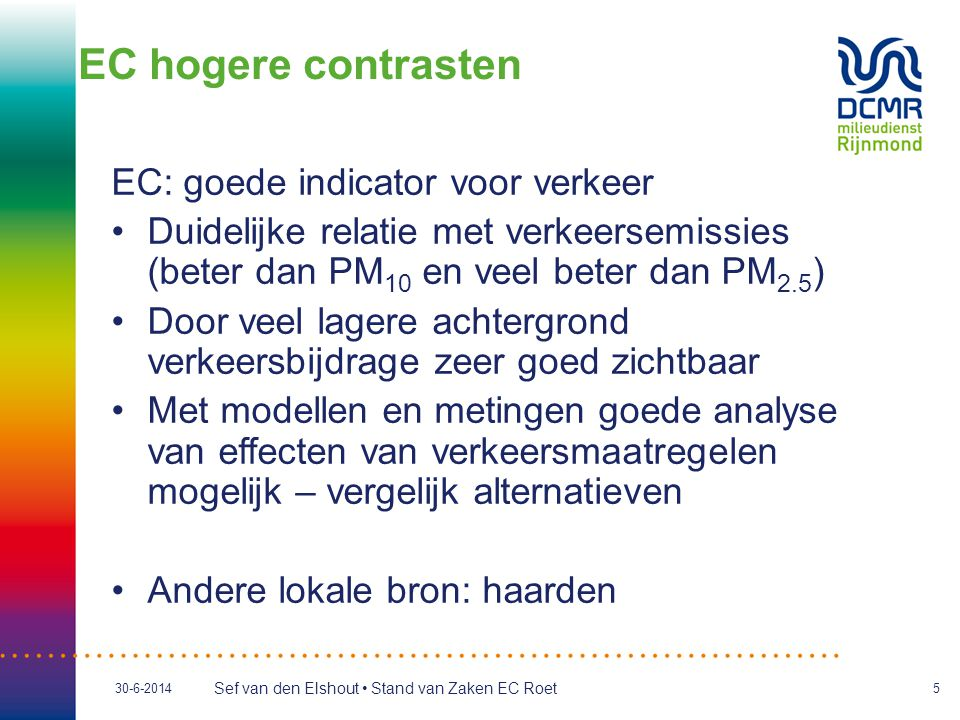 EC hogere contrasten EC: goede indicator voor verkeer