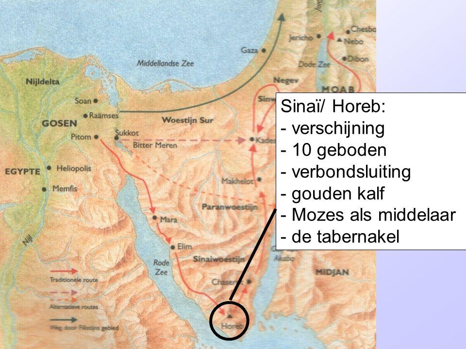 Sinaï/ Horeb: - verschijning - 10 geboden - verbondsluiting - gouden kalf - Mozes als middelaar - de tabernakel