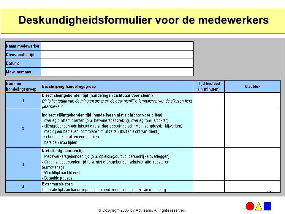 Deskundigheidsformulier voor de medewerkers