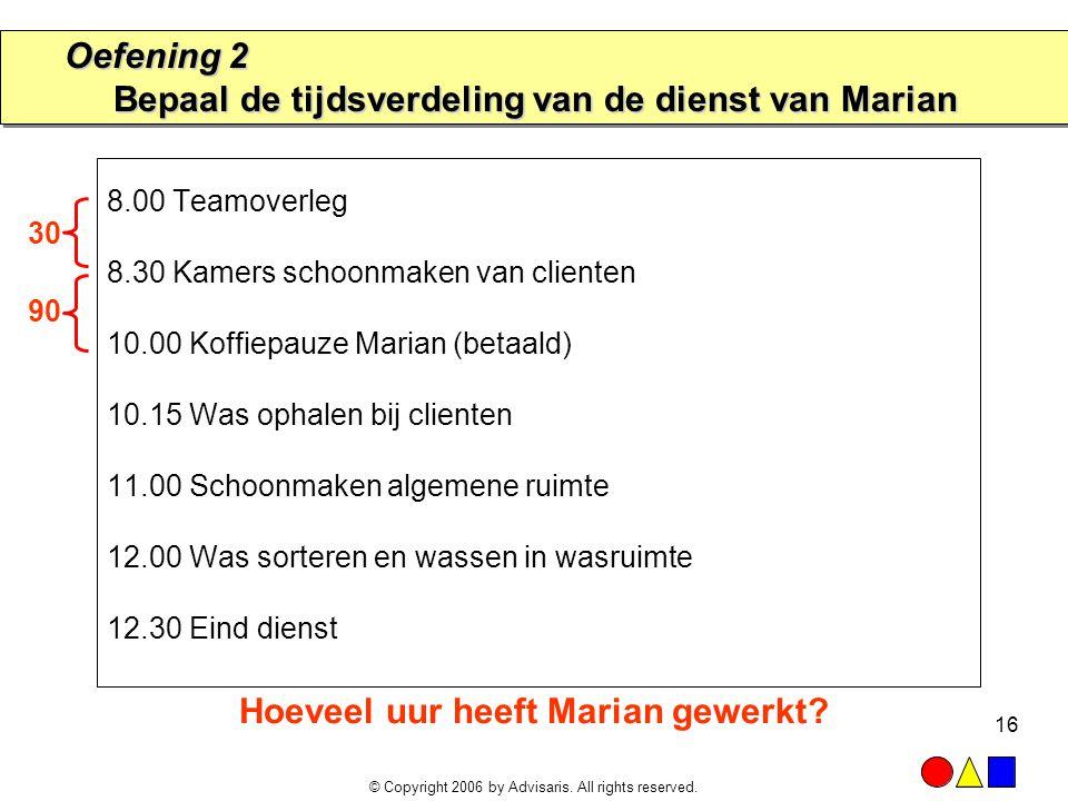 Oefening 2 Bepaal de tijdsverdeling van de dienst van Marian