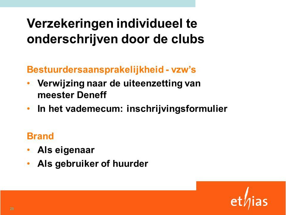 Verzekeringen individueel te onderschrijven door de clubs