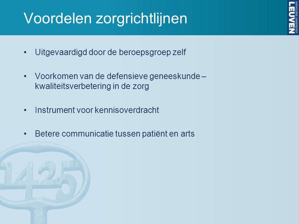 Voordelen zorgrichtlijnen