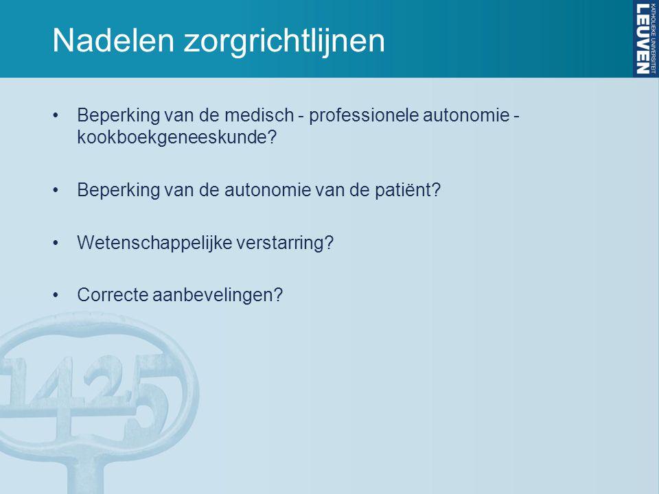 Nadelen zorgrichtlijnen
