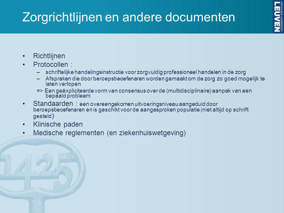 Zorgrichtlijnen en andere documenten