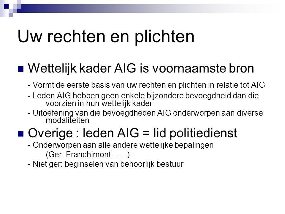 Uw rechten en plichten Wettelijk kader AIG is voornaamste bron