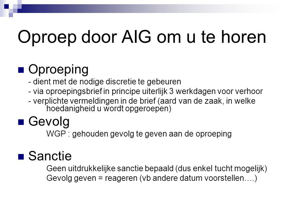 Oproep door AIG om u te horen