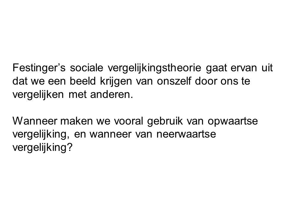 Festinger's sociale vergelijkingstheorie gaat ervan uit dat we een beeld krijgen van onszelf door ons te vergelijken met anderen.