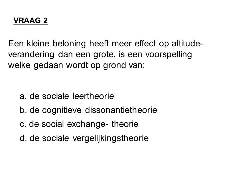 a. de sociale leertheorie b. de cognitieve dissonantietheorie