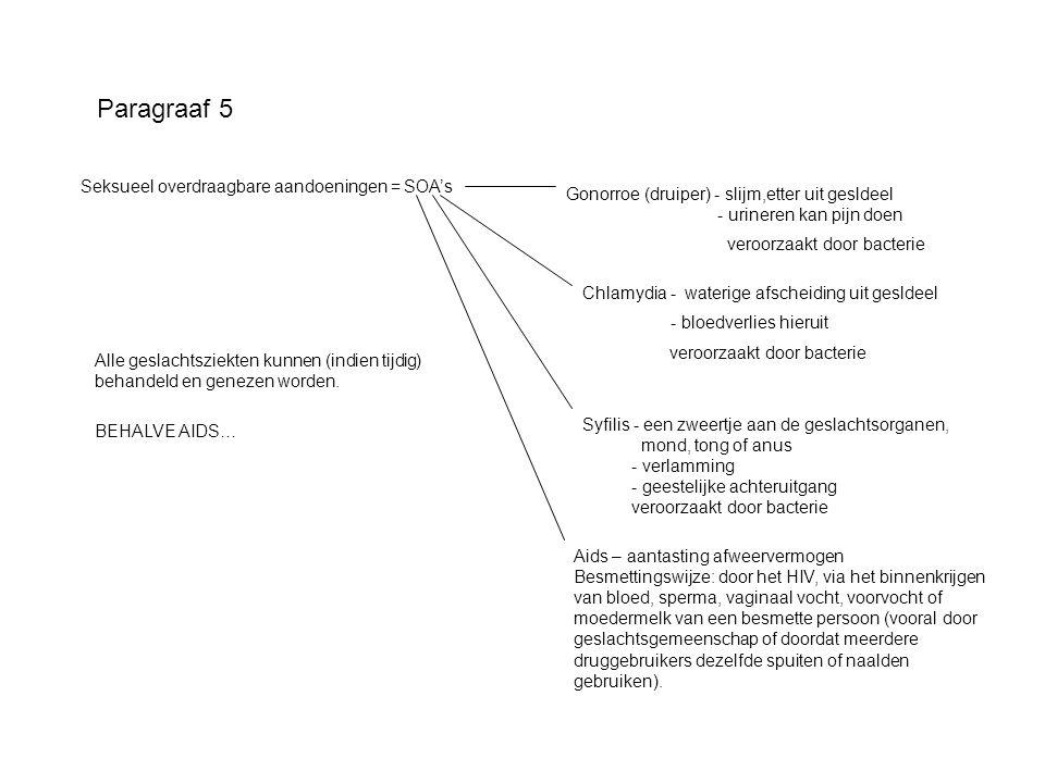 Paragraaf 5 Seksueel overdraagbare aandoeningen = SOA's
