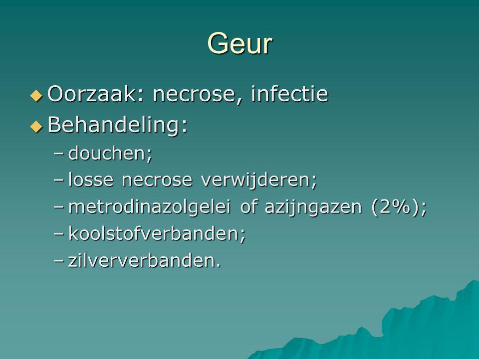 Geur Oorzaak: necrose, infectie Behandeling: douchen;