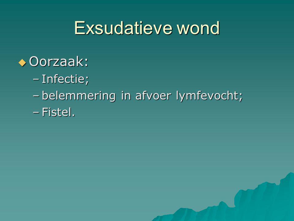 Exsudatieve wond Oorzaak: Infectie; belemmering in afvoer lymfevocht;