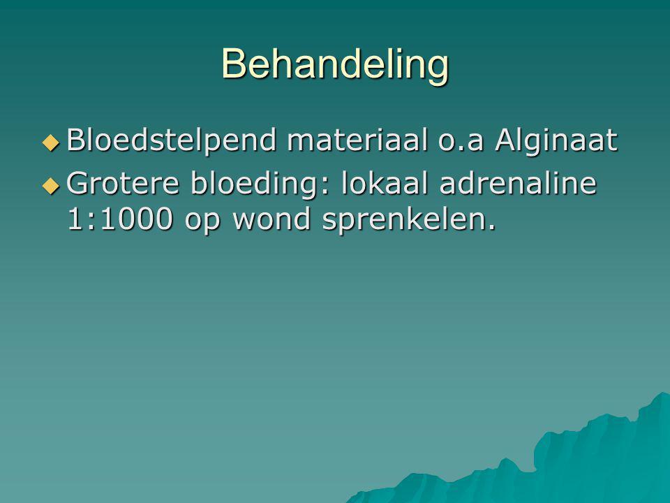 Behandeling Bloedstelpend materiaal o.a Alginaat