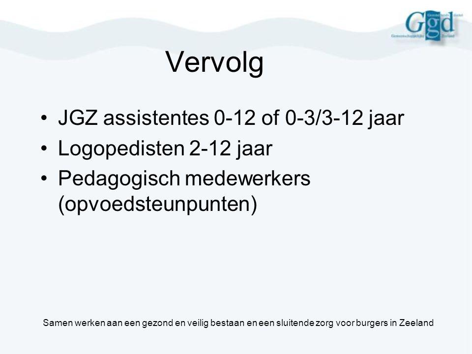 Vervolg JGZ assistentes 0-12 of 0-3/3-12 jaar Logopedisten 2-12 jaar