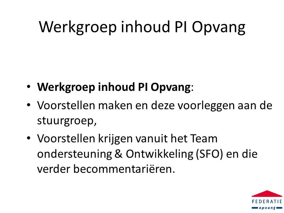 Werkgroep inhoud PI Opvang