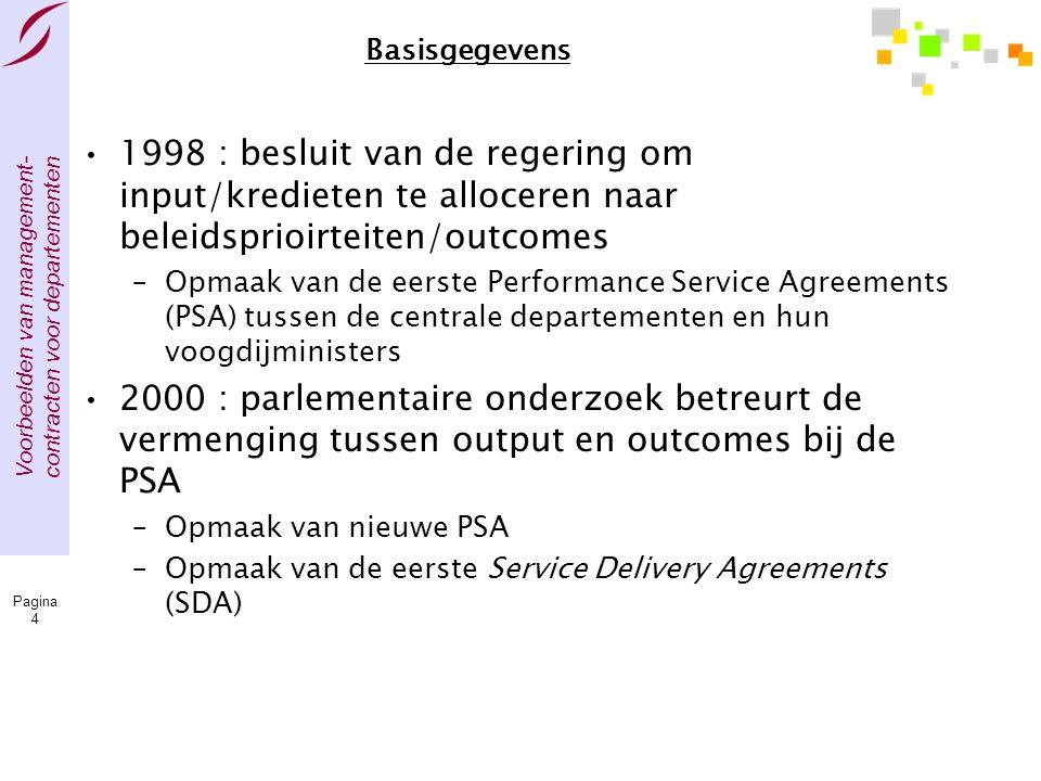 Basisgegevens 1998 : besluit van de regering om input/kredieten te alloceren naar beleidsprioirteiten/outcomes.