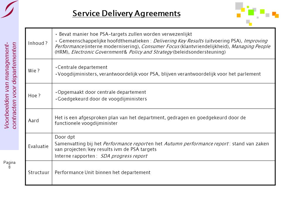 Service Delivery Agreements