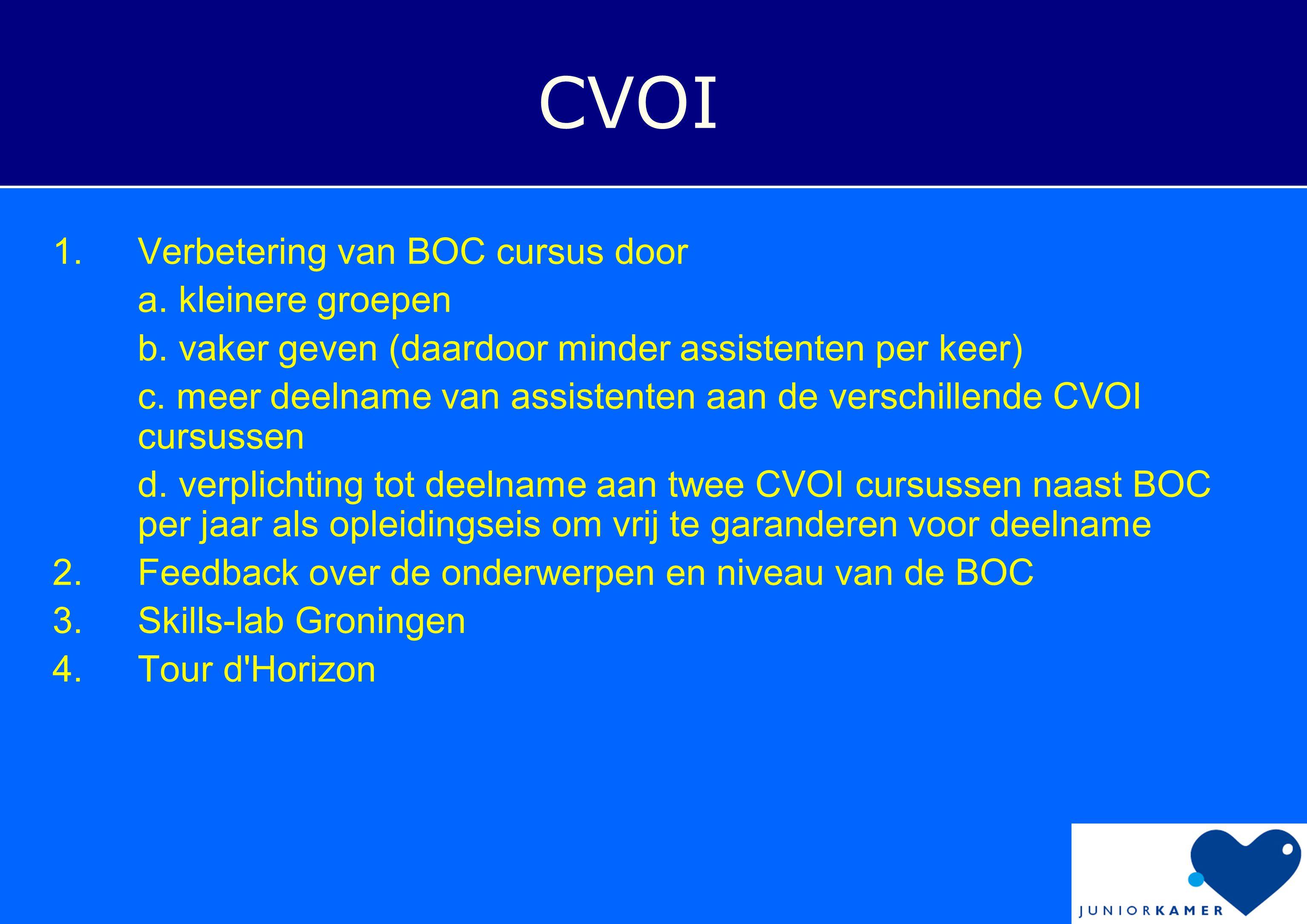 CVOI Verbetering van BOC cursus door a. kleinere groepen