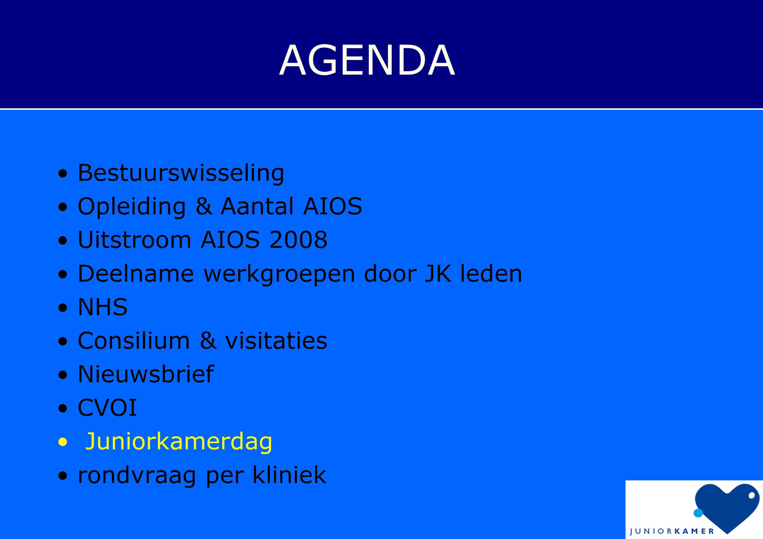 AGENDA Bestuurswisseling Opleiding & Aantal AIOS Uitstroom AIOS 2008