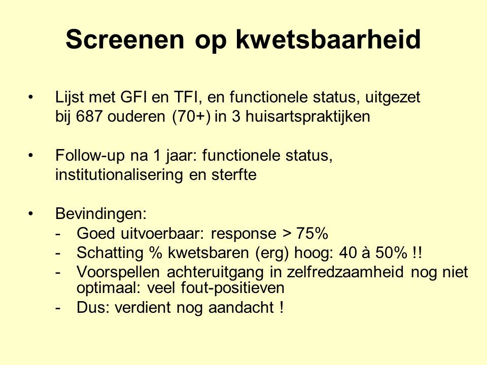 Screenen op kwetsbaarheid