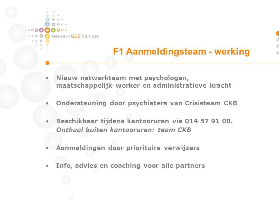 F1 Aanmeldingsteam - werking