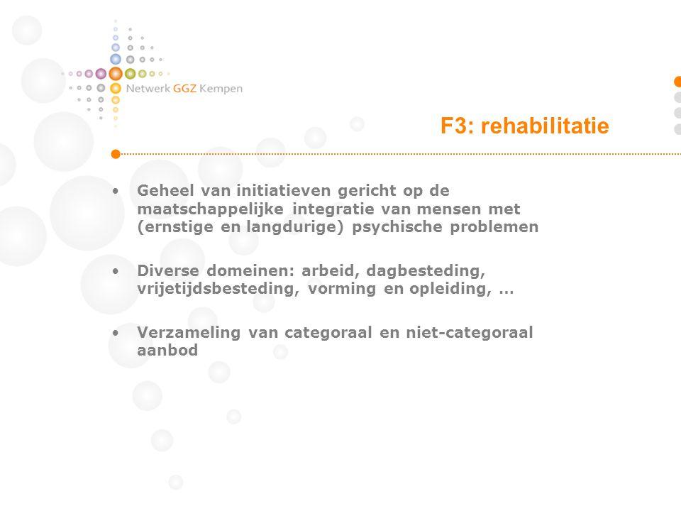 F3: rehabilitatie Geheel van initiatieven gericht op de maatschappelijke integratie van mensen met (ernstige en langdurige) psychische problemen.