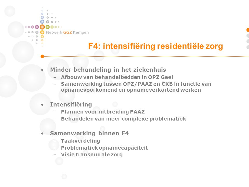 F4: intensifiëring residentiële zorg