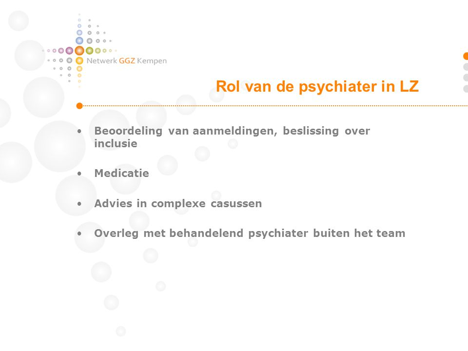 Rol van de psychiater in LZ