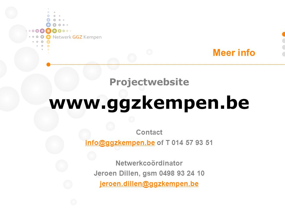 Meer info Projectwebsite Contact