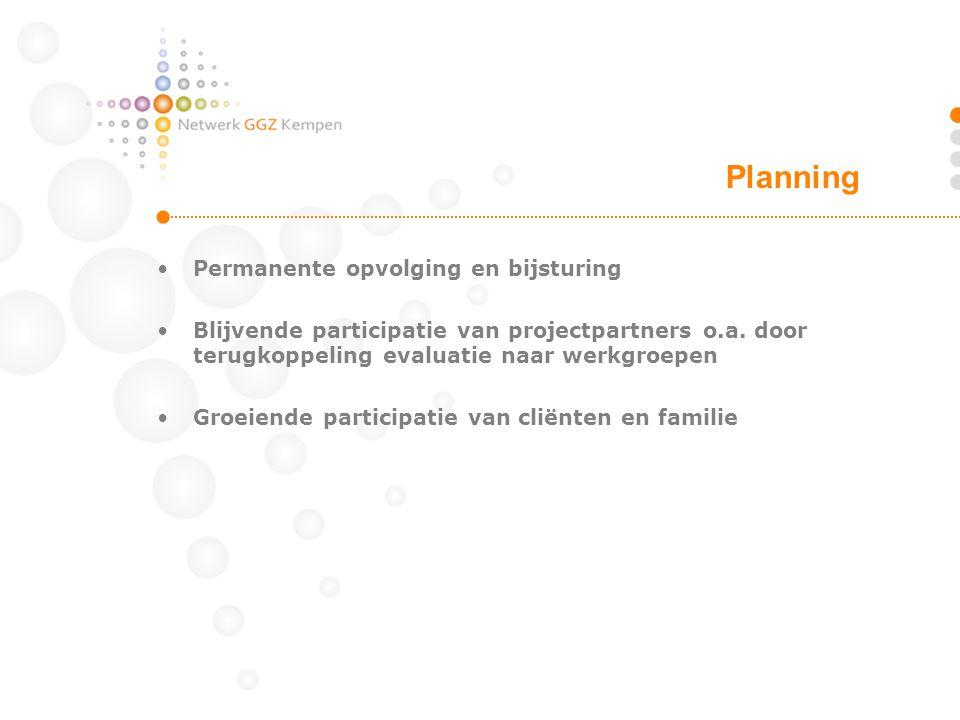 Planning Permanente opvolging en bijsturing