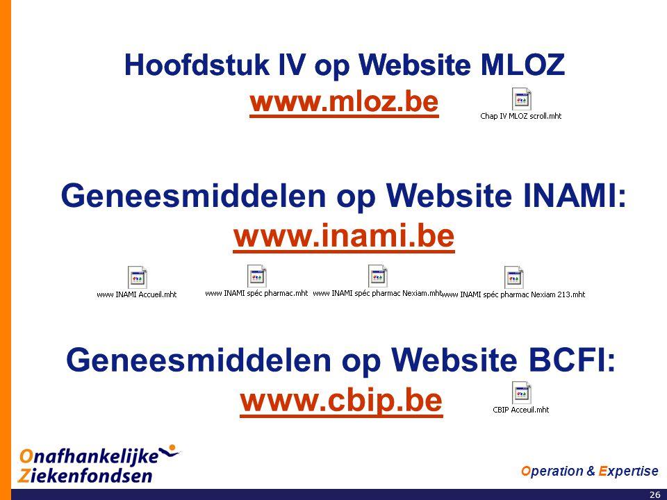 Hoofdstuk IV op Website MLOZ www.mloz.be