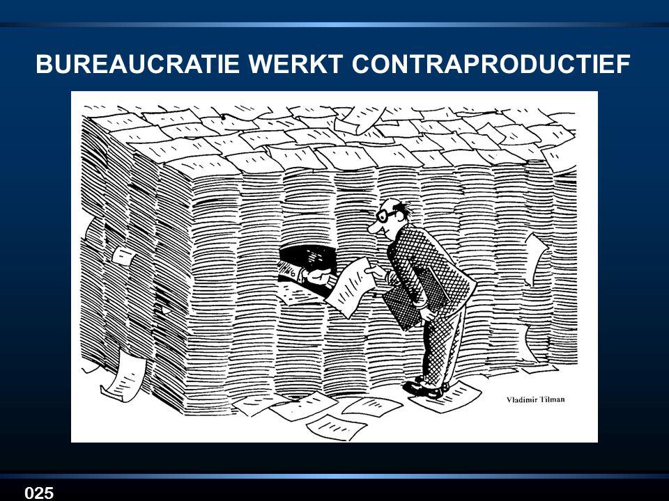 BUREAUCRATIE WERKT CONTRAPRODUCTIEF