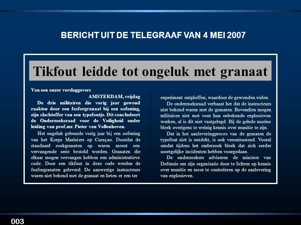 BERICHT UIT DE TELEGRAAF VAN 4 MEI 2007