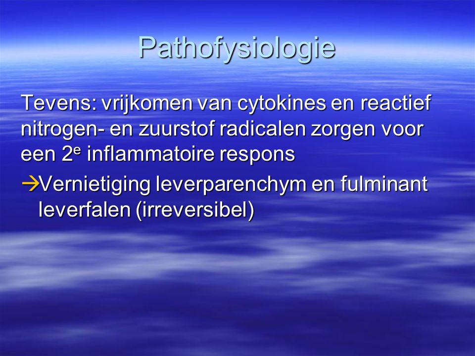 Pathofysiologie Tevens: vrijkomen van cytokines en reactief nitrogen- en zuurstof radicalen zorgen voor een 2e inflammatoire respons.
