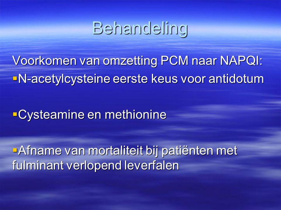 Behandeling Voorkomen van omzetting PCM naar NAPQI: